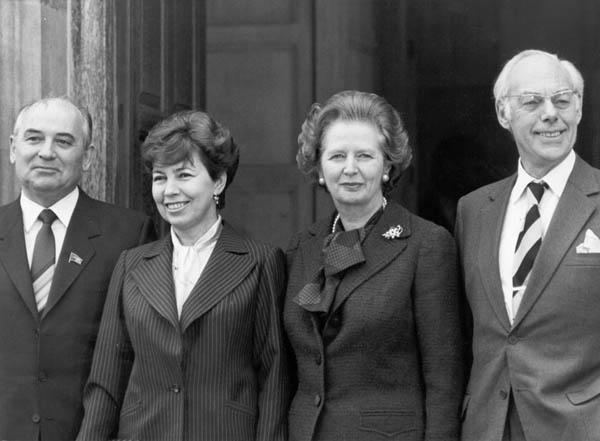 Mikhail and Raisa Gorbachev, Margareth and Denis Thatcher.  London, December 16, 1984