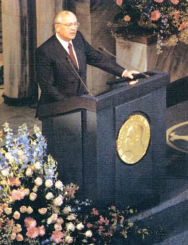Mikhail Gorbachev delivering his Nobel speech. 1991